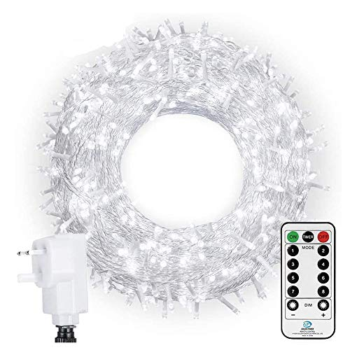 Ollny Outdoor Fairy Lights 100m 800 LED Cool White Lights Plug in Garden Lights Mains Powered Outside Lights Waterproof with Remote & Timer 8 Modes for Indoor Christmas Tree Holiday Decorations