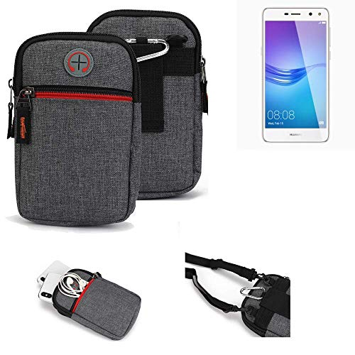 K-S-Trade® Gürtel-Tasche Für Huawei Y6 (2017) Single SIM Handy-Tasche Schutz-hülle Grau Zusatzfächer 1x