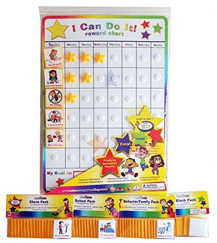 I Can Do It! reward chart supplemental pack bundle, behavior, chore, school and blanks.