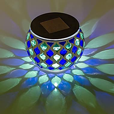Solar Mosaic Glass LED Decorative Table Light (Blue and Green)