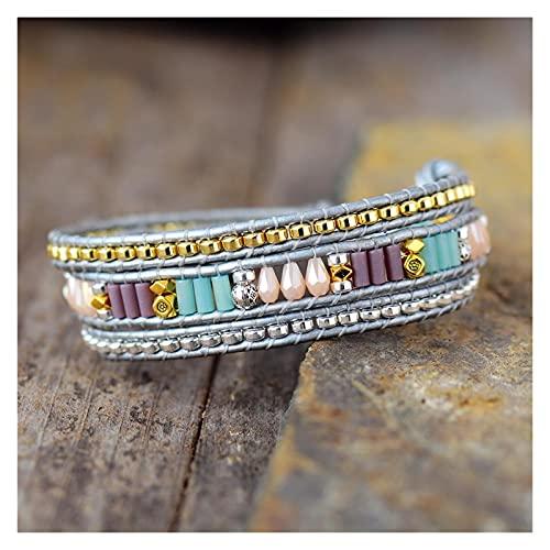 JIAH Pulseras Pulseras de Envoltura de Cuero Multicapa con Perlas de Color Oro Rhinestone Triple Amistad Pulsera Bijoux joyería