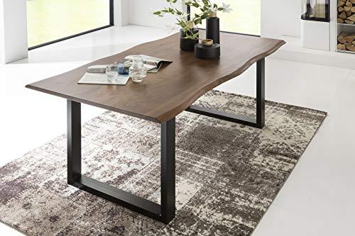 SalesFever Esszimmer-Tisch 180x90 cm | Akazie | echte Baumkante | nussbaum-farbig | schwarzes U-Gestell aus Metall | Massiv-Holz