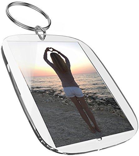 Portachiavi per foto (50 x 35 mm, 5 pezzi) Per foto passaporto, immagini, targhetta realizzata in acrilico Plexiglas altamente trasparente