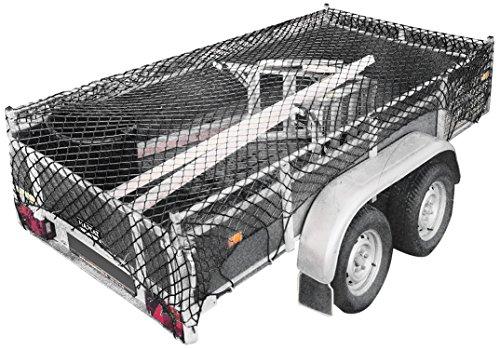 Relaxdays 10018602 Anhängernetz dehnbar 2 Größen mit Expanderseil und Befestigungshaken, Schwarz