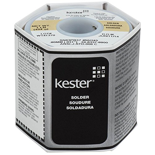 "Kester 24-6337-8800 50 Activated Rosin Cored Wire Solder Roll, 245 No-Clean, 63/37 Alloy, 0.031"" Diameter"
