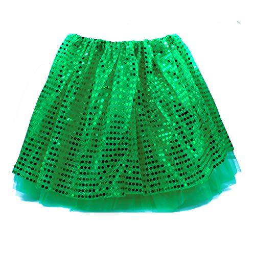 Tutu Nia Falda Corta de Baile Short Ballet/Danza Disfraz con Lentejuelas 3 Capas, Cintura 46-90cm,Longitud 30cm (Verde, Nia)