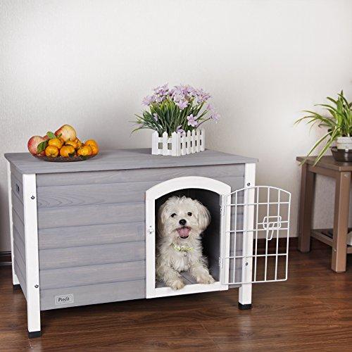 Petsfit casa de perro de interior con puerta de hierro, refugio de madera para perros, color gris, 80 cm x 54 cm x 53 cm
