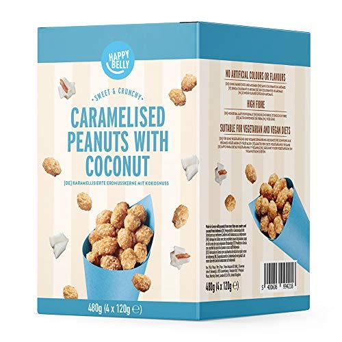 Amazon Marke - Happy Belly Karamellisierte Erdnusskerne mit Kokosnuss, 120g x 4