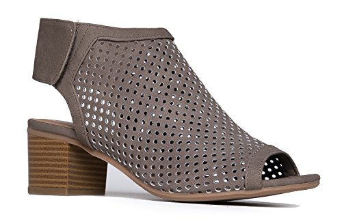 J. Adams Maddie Cutout Bootie - Adjustable Band Slip On Low Stacked Heel Shoes, Taupe Nbpu, 7.5