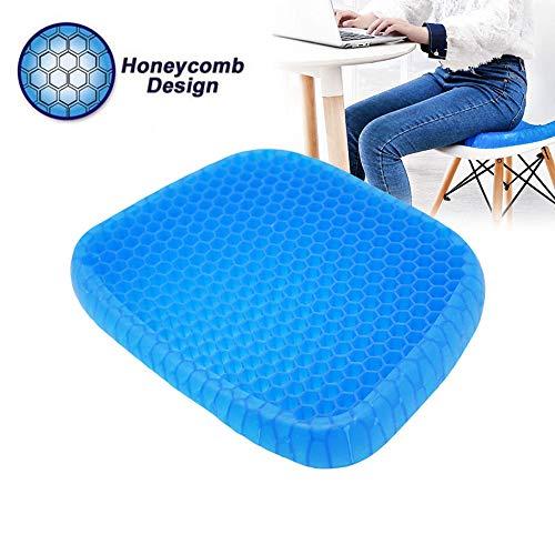 6 Se7en Ei-Gel-Kissen Ice Pad, Gelkissen, Gel Sitzkissen mit innovativer Honigwaben Gel Konstruktion und rutschfestem Bezug für Auto, Büro- & Rollstuhl blau
