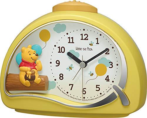 リズム時計工業(Rhythm) 置き時計 イエロー 11.4x15.2x7.5cm 目覚まし時計 ディズニー くまのプーさん 電子音アラーム 4SE561MC33
