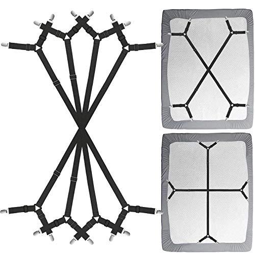 Siaomo Bed Sheet Fasteners Straps - 2 Way Adjustable Crisscross Sheet Corner Holder Straps Gripper Clips Elastic Sheet Band Suspenders Fasteners(2 Set/4Pcs, Black)