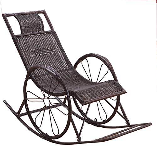 DYQTY Chaise Longue de Jardin inclinable Korbstuhl Schaukelstuhl Liegestuhl Haushalt Schaukelstuhl Für Erwachsene Älterer Stuhl Sessel Nap Stuhl Balkon Freizeitstuhl Fauler Stuhl (Color : A)
