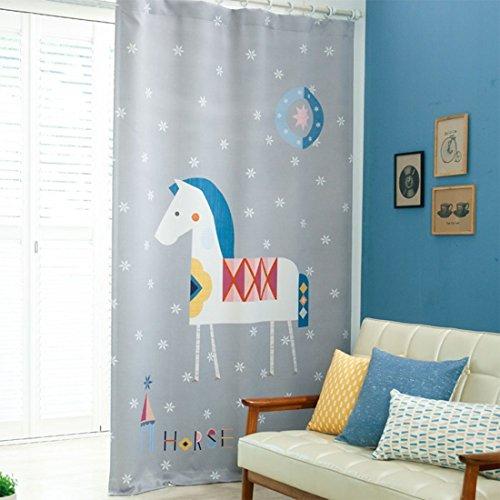GWELL Kinderzimmer Gardinen Vorhang Blickdicht Ösenschal Dekoschal für Wohnzimmer Schlafzimmer 1er-Pack 280x140cm (HxB) Pferd