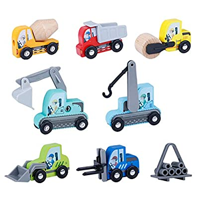 LOKUO Wooden Construction Vehicles Toy Set?7-Pcs?? Miniature Wooden Toy Cars for Toddlers (3-Years-Old & Up),Compatible to Thomas Train Toys Railway and Major Brands