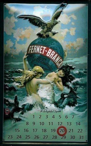 Froy Fernet Branca Kalender Blechschild Calendar Placa Hoja de Metal Vintage Arte Personalizado Creatividad Decoración Artesanía para Cafe Bar Garaje Inicio