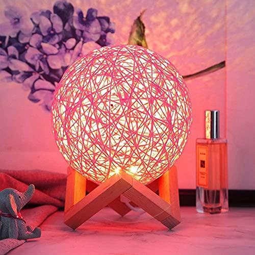 DHRH Lámpara de cabecera LED Moderna Lámpara de Mesa de Mimbre de Mimbre Lámpara de decoración del hogar Lámpara de Noche para niños 15 * 15 * 18 cm, Rosa