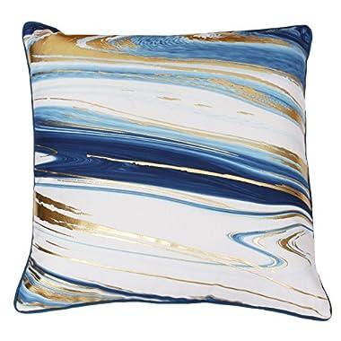 Thro by Marlo Lorenz Pillow Dragonfly Blue Gold Kia Marble Raised Foil