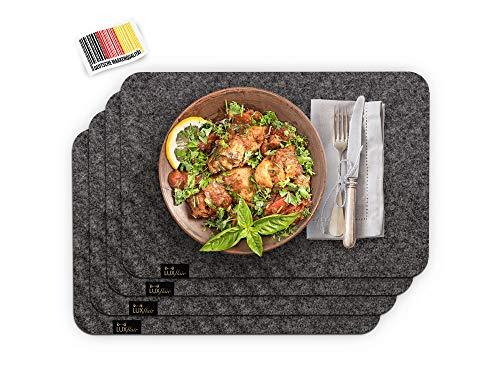 Luxflair Edle Filz Platzmatten für 4 Personen in Dunkelgrau XXL Tischset 30x45cm, waschbar. Moderne Designer Tischmatten, Tischunterlagen-Set