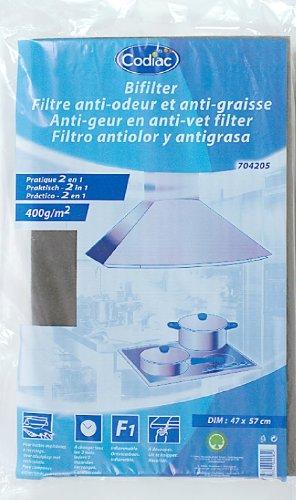 Codiac 704205 filter voor afzuigkap, 2-in-1, tegen vet en geur, 300 g/m2, 47 x 57 cm