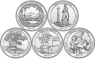 2013 P Complete Set of 5 National Park Quarters Uncirculated