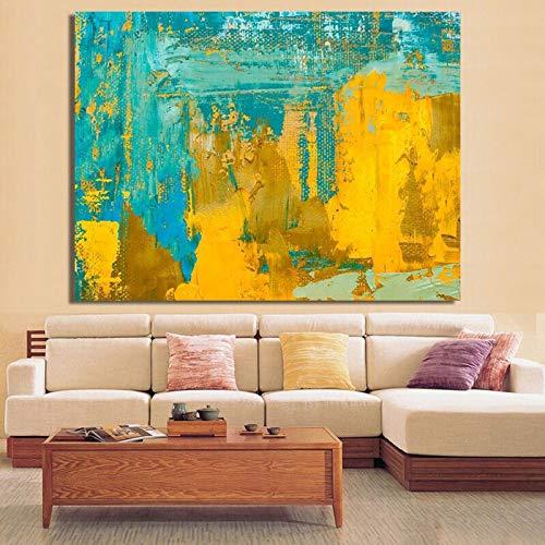 wZUN Carteles e Impresiones de Arte Abstracto Moderno murales Pinturas en Lienzo Pinturas abstractas de Color Amarillo Claro y Verde para la decoración de la Sala de Estar 50x70cm