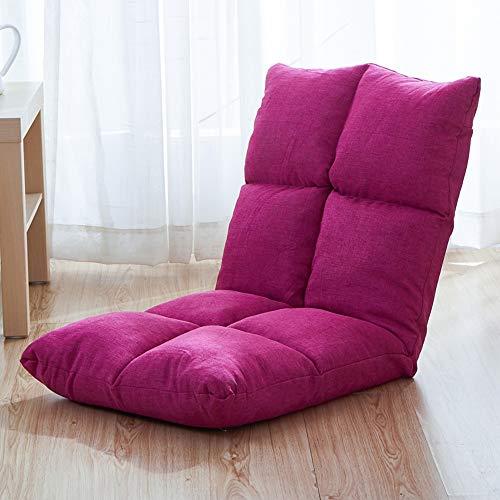 Paddia Tatami Plegable Sofá Perezoso Sofá pequeño Silla Cama Plegable Individual Cojín para Ventana Reclinación Meditación Respaldo Respaldo Acolchado (Color : Pink)