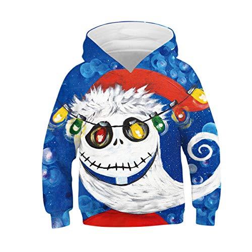 Zaima 3D Lindo Navidad Elk Sudadera con Capucha OtoñO Invierno NiñOs Jerseys Prendas De Vestir Tops Abrigo Suelto Manga Larga SuéTer con Capucha