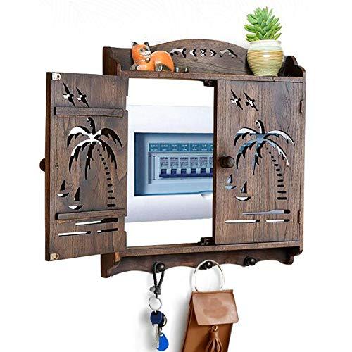 JCNFA Planken Kabelbeheer Box | Kabel Hiding Box massief hout gesneden decoratief schilderij, schakelaar verdeelkast, Houdt draden veilig en georganiseerd ,3 Sleutelhaak Woonkamer 18.50*18.50*1.37in Carved Retro