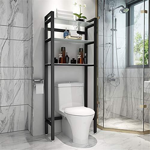 Cuarto de baño Estante de almacenamiento Over-the-WC de almacenamiento en rack de baño Capa 3 Estante de vidrio templado Ahorro espacio de almacenamiento de baño Organizador baño Estante de almacenami