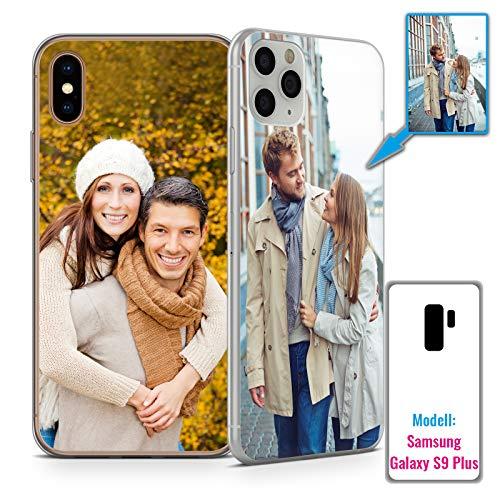 PixiPrints Foto-Handyhülle mit eigenem Bild kompatibel mit Samsung Galaxy S9 Plus, Hülle: dünnes Slim-Silikon in Transparent, personalisiertes Premium-Case selbst gestalten mit flexiblem Druck