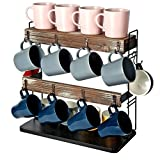 J JACKCUBE DESIGN Rustic Wood Countertop 2 Tier Coffee Mug Cup Rack Holder Stand with Metal Frame and Wooden Shelf for Coffee, Tea Cups Display Organizer with 10 Hooks - MK651A