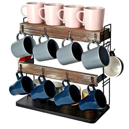 J JACKCUBE DESIGN Rustic Wood Countertop 2 Tier Coffee Mug Cup Rack Holder Stand with Metal Frame and Wooden Shelf for Coffee Tea Cups Display Organizer with 10 Hooks  MK651A