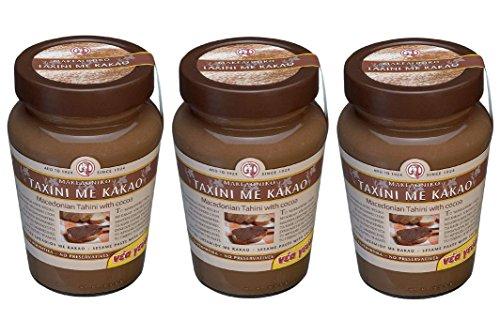 3x Tahini Kakao aus Makedonien a 350g (1050g) Sesampaste Sesammus Sesam Paste Mus Creme Spar Set + Probiersachet Olivenöl aus Kreta 10 ml