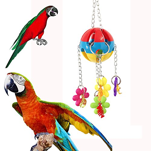 Price comparison product image Hisoul Parrot Bite Toy Colorful Pet Bird Parrot Swing Cage Toy,  Fun Playing Interactive Smart Game Pet Toy Parakeet Cockatiel Toys (Random)
