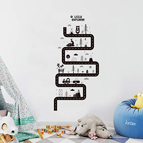 huangshi7230 Wandaufkleber Tiere Straße Selbstklebende Abnehmbare Vinyl Wandtattoo Für Kinderzimmer Jungen Schlafzimmer Spielzimmer Kindergarten Wohnkultur