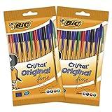 BIC Cristal Original Fine Stylos-Bille Pointe Fine (0,8 mm) - Couleurs Assorties, Lot de 2 Pochettes de 10