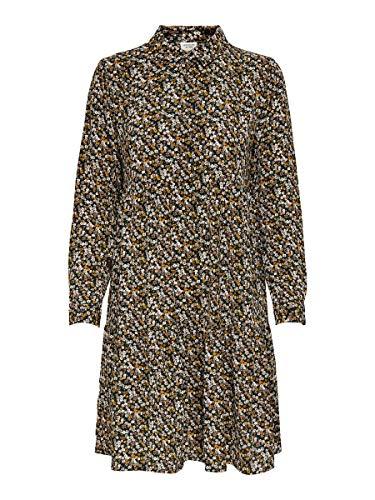 JACQUELINE de YONG JDYPIPER L/S AOP Shirt Dress Wvn Noos Vestito, Nero 1, 46 Donna