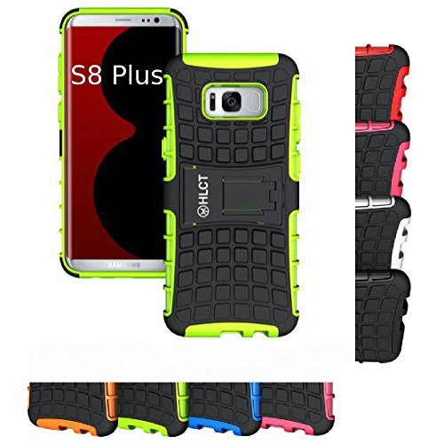 Price comparison product image Galaxy S8 Plus Stand Case,  HLCT Rugged Shock Proof Dual-Layer PC and Soft TPU Case with Built-in Stand Kickstand (Green)