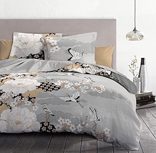 Home Passion | Funda nórdica – 3 Piezas | 100% algodón – 57 Hilos | 2 Personas – 240 x 260 cm | Gris Oscuro y Gris Claro