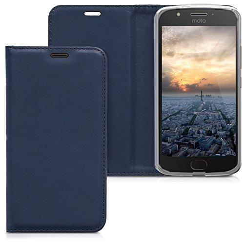 kwmobile Hülle kompatibel mit Motorola Moto E4 - Kunstleder Handy Schutzhülle - Flip Cover Case Dunkelblau