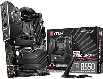 MSI MEG B550 Unify Gaming Motherboard (AMD AM4, DDR4, PCIe 4.0, SATA 6Gb/s, Dual M.2, USB 3.2 Gen 2, HDMI, Wi-Fi 6 AX, ATX, AMD Ryzen 5000 Series Processors)
