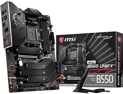 MSI Meg B550 Unify - Placa Base para Juegos (AMD AM4, DDR4, PCIe 4.0, SATA 6 GB/s, Dual M.2, USB 3.2 Gen 2, HDMI, Wi-Fi 6 AX, ATX, AMD...