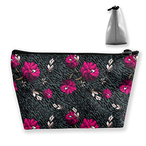 Trapezoidal - Neceser de maquillaje, diseño de flores, color rosa