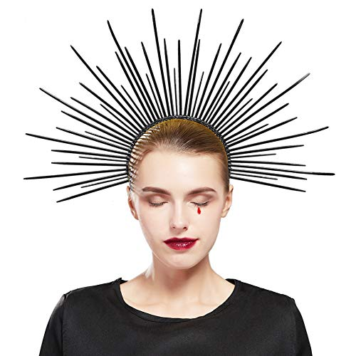 Fantherin Damen Mary Halo Krone Heiligenschein Haarreif Sonnengott Cosplay Halo Stirnband Karneval Kopfschmuck Damen Fasching Kostüm Accessoires (Stil 1 - Schwarz)