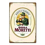 Generies Birra Moretti Plaque en métal en métal pour bière Italienne Italie Vintage rétro en Fer Affiche d'avertissement pour Bar, café, Maison, Garage, Bureau