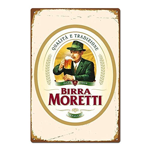 TSHOME Birra Moretti Italienisches Bier-Blechschild Retro Vintage Aluminium Schild für Zuhause, Kaffee, Wanddekoration, Bar, Pub und Männerhöhle, Shabby Chic, 20,3 x 30,5 cm