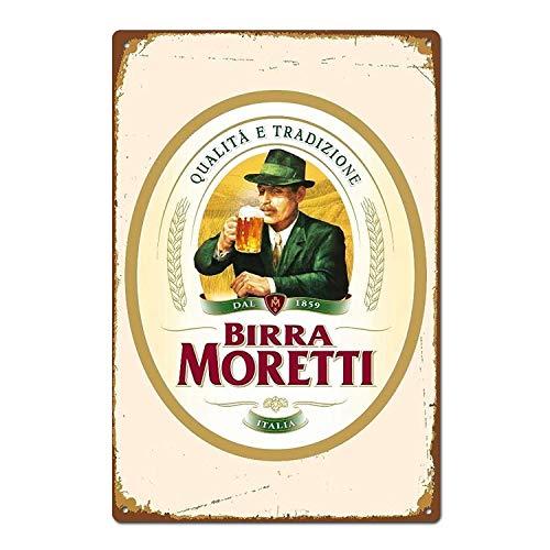Generies Birra Moretti - Letrero de Cerveza Italiana Italiana para Pared, Estilo...
