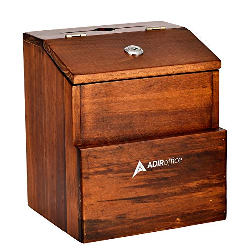 Rustic Suggestion Box with Lock - Wooden Ballot Comment Box with Front Pocket - Donation Box - Collection Box - Ballot Box - Wall Mounted Suggestion Box (Brown)
