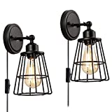 2 Pack 1-Light Hardwire or Plug-In Industrial Wall Sconce with on/off Toggle Switch, Vintage Cage Wall Lamp Farmhouse Style Edison E26 Base for Headboard, Bedroom, Porch, Bathroom by LIUSUN LIULU